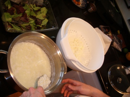 making ricotta